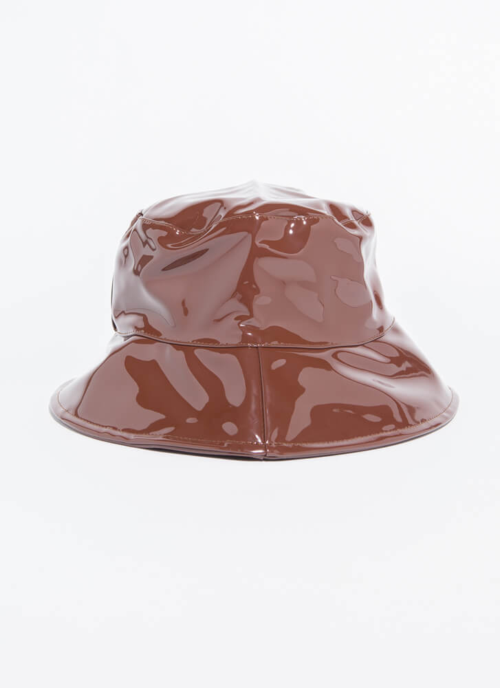 90's Baby Faux Patent Bucket Hat BROWN