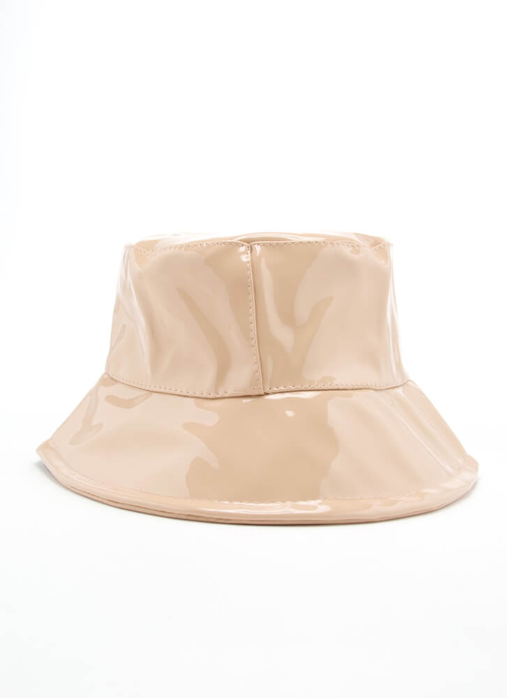 90's Baby Faux Patent Bucket Hat NUDE