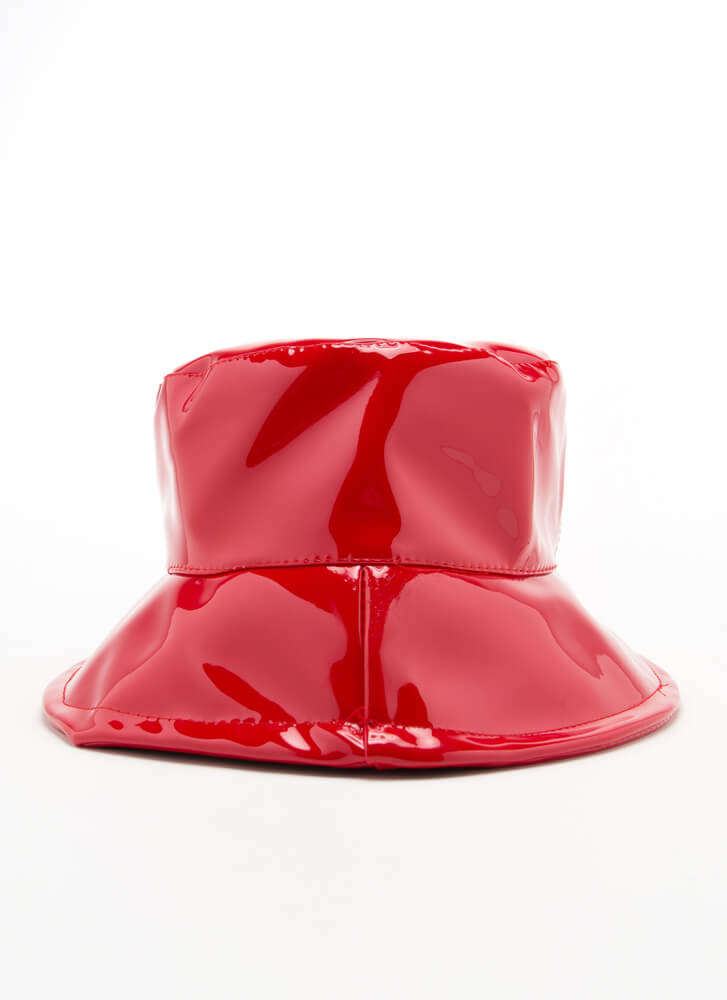 90's Baby Faux Patent Bucket Hat RED