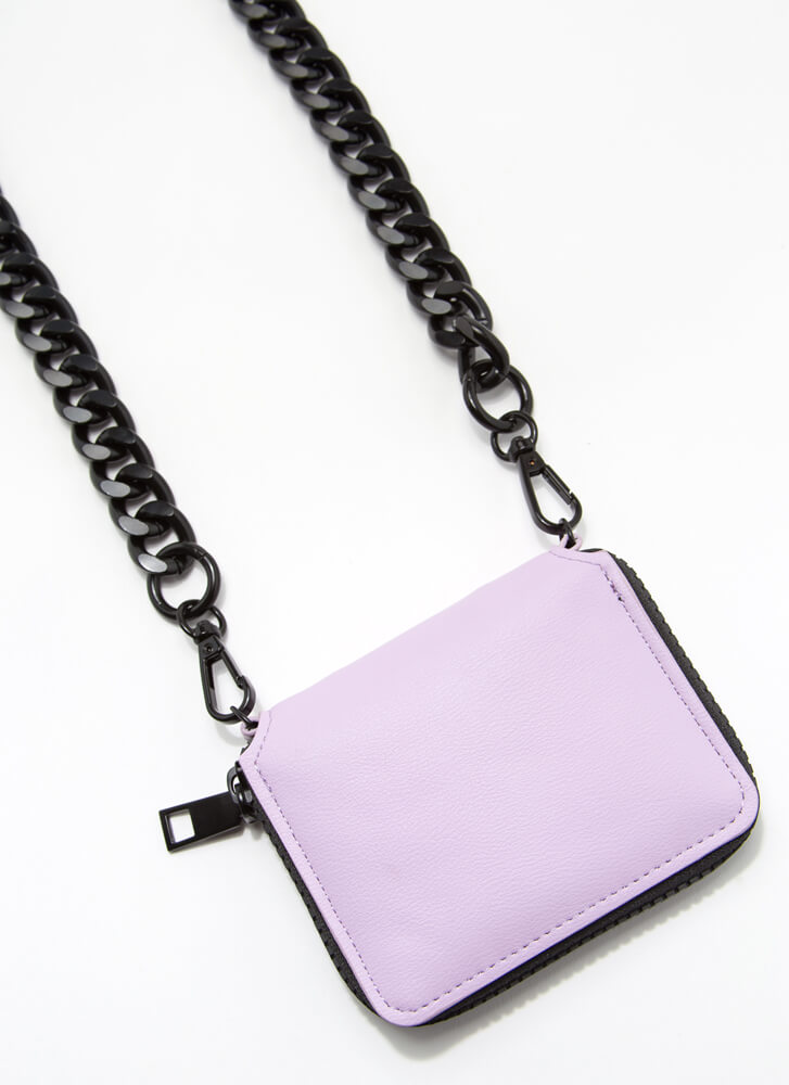 Pay It Forward Chunky Chain Strap Wallet LAVENDER