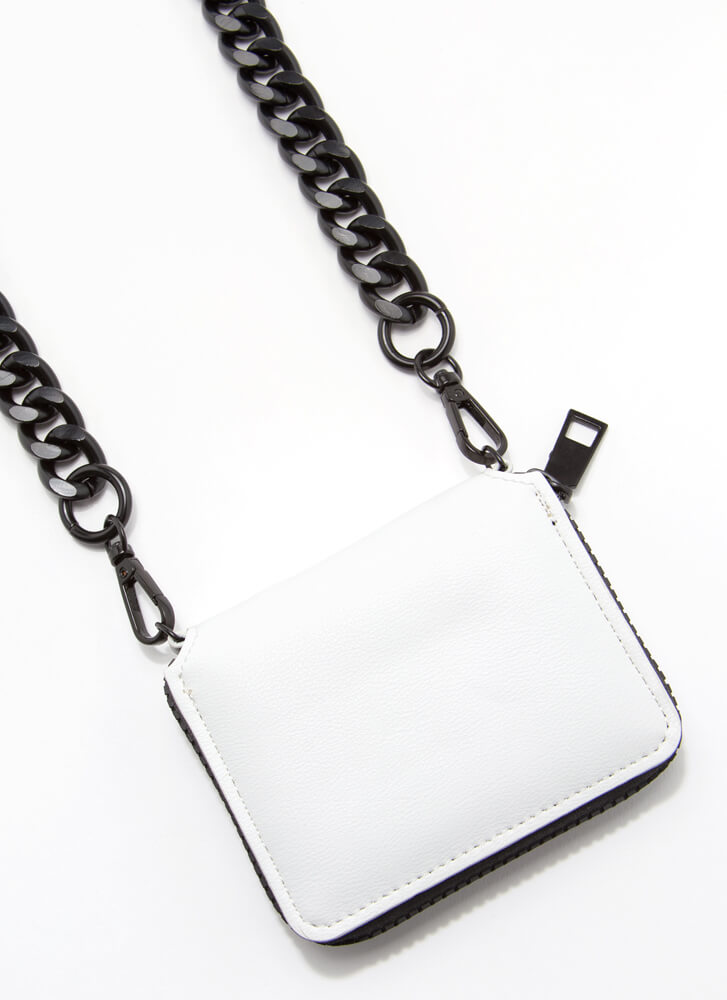 Pay It Forward Chunky Chain Strap Wallet WHITE