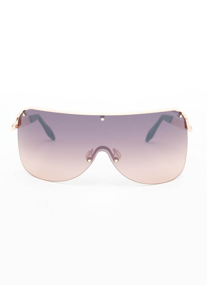 Curve Your Enthusiasm Shield Sunglasses BROWN