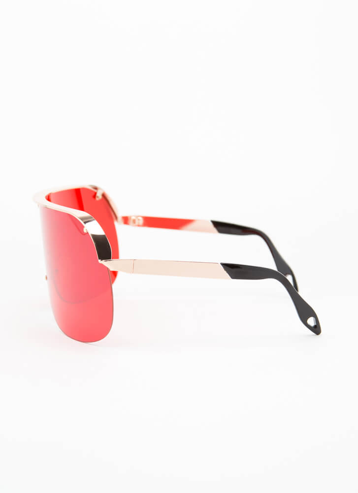 Curve Your Enthusiasm Goggle Sunglasses RED