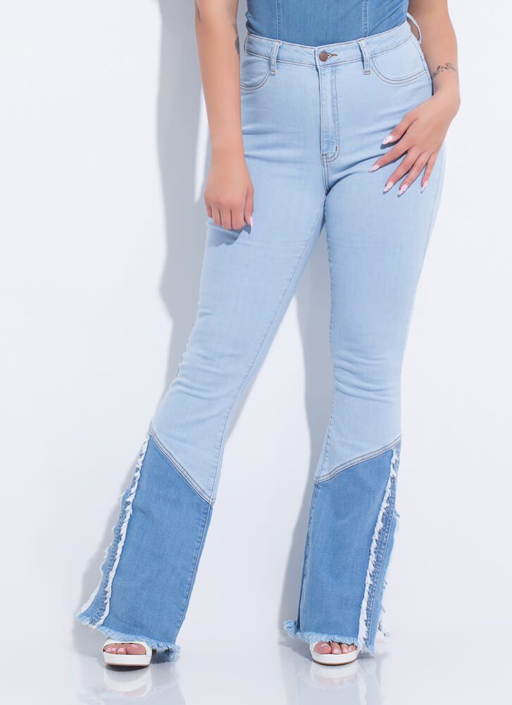 Country Flare Fringed Bell-Bottom Jeans LTBLUE