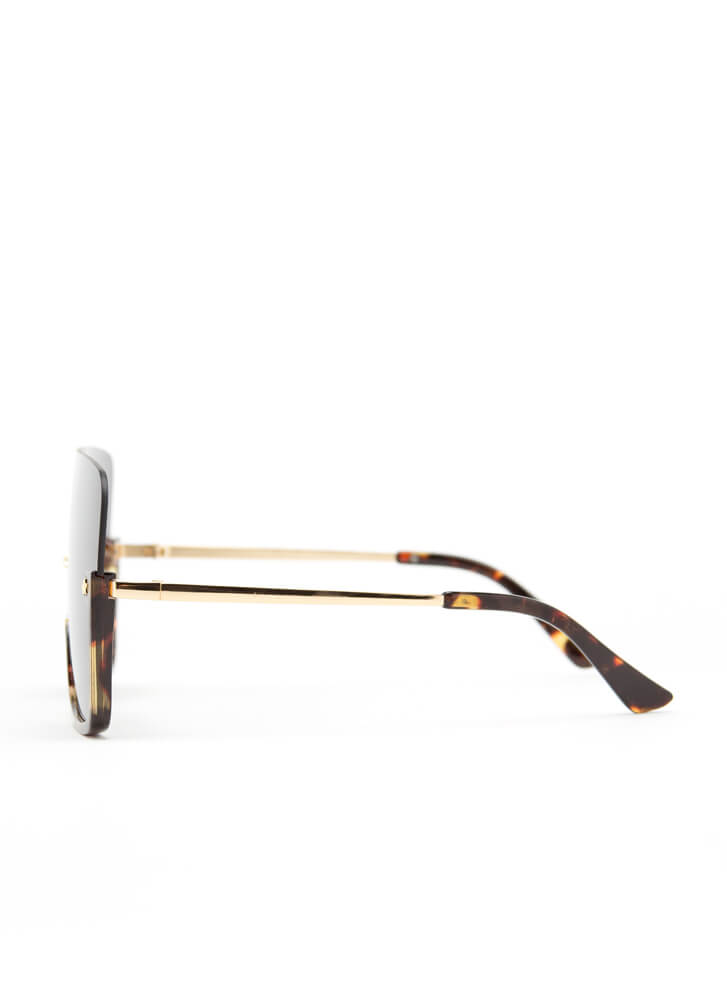 Starring Me Partial Frame Sunglasses BROWN