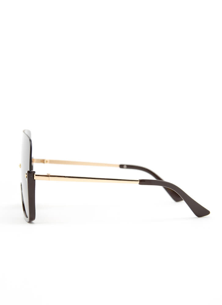 Starring Me Partial Frame Sunglasses CHOCOLATE