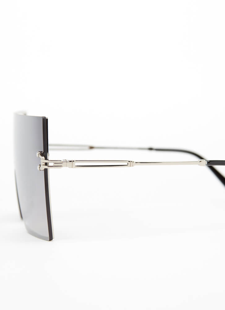 Shield Your Eyes Oversized Sunglasses SILVER