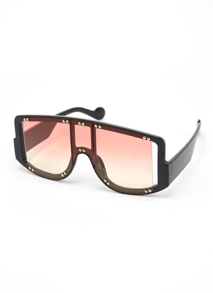 New Experience Studded Goggle Sunglasses PINK
