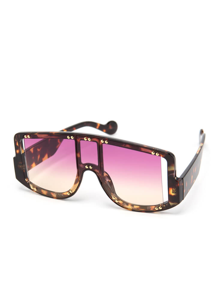 New Experience Studded Goggle Sunglasses PURPLE