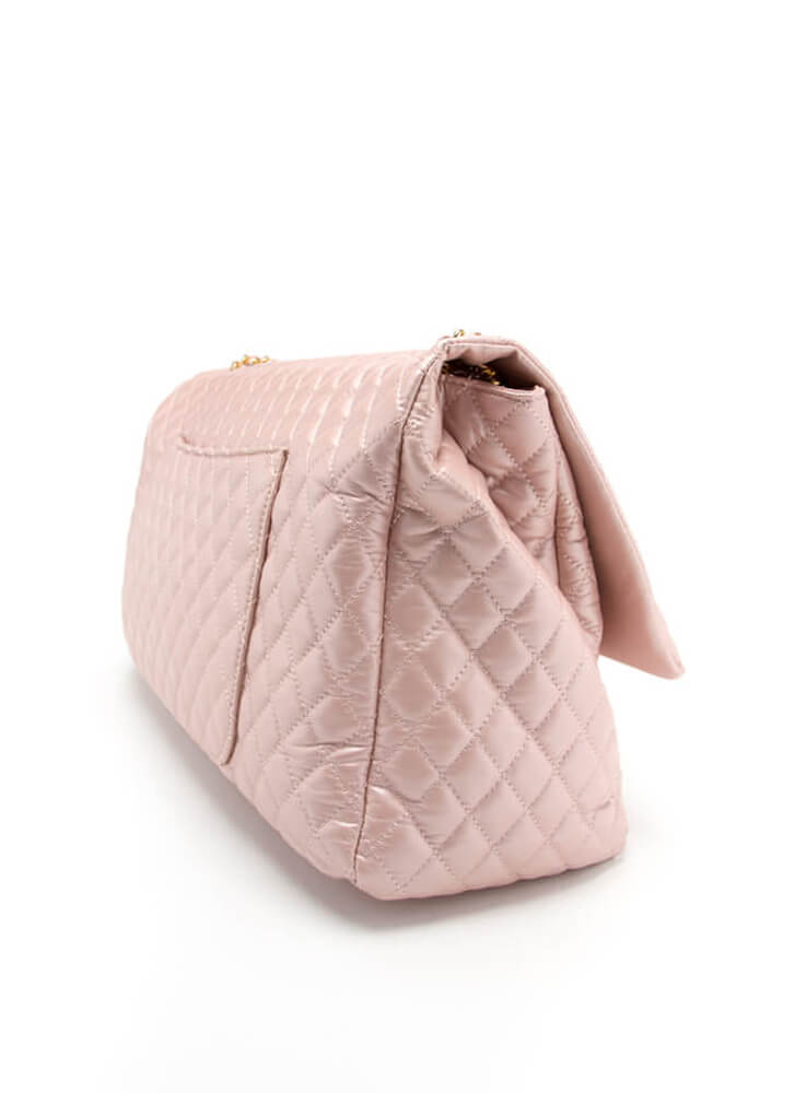 Big Surprise Shiny Oversized Quilted Bag PINK