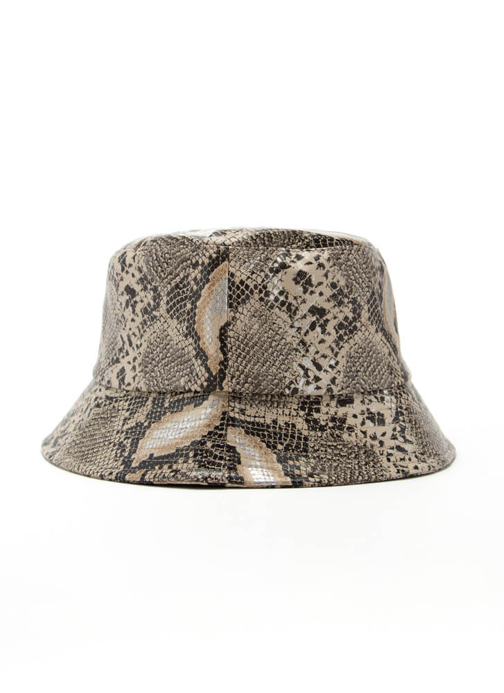 Snake Out Faux Leather Bucket Hat SNAKE
