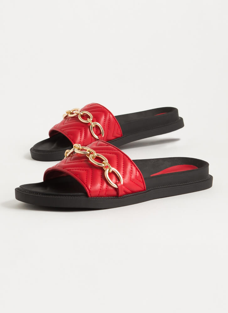 Chain-ge It Up Chevron Slide Sandals RED