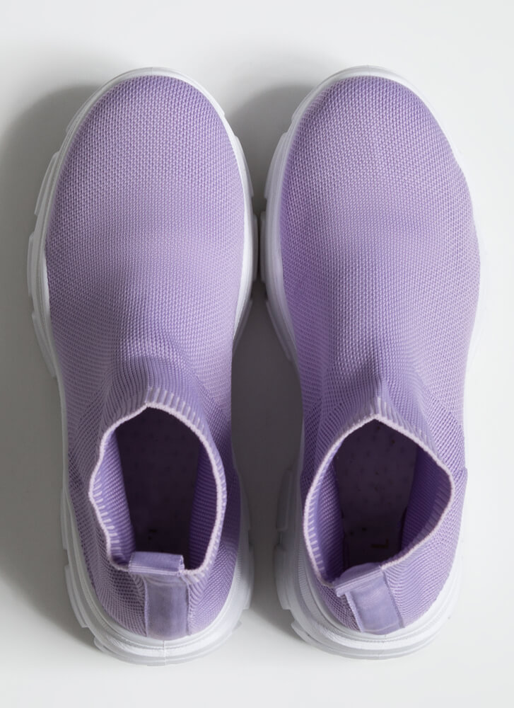 Socks To Be You Knit Platform Sneakers LILAC