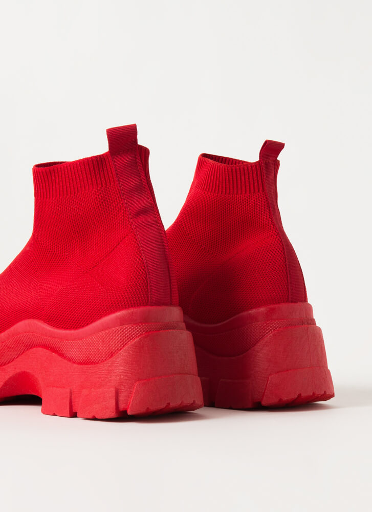 Socks To Be You Knit Platform Sneakers RED