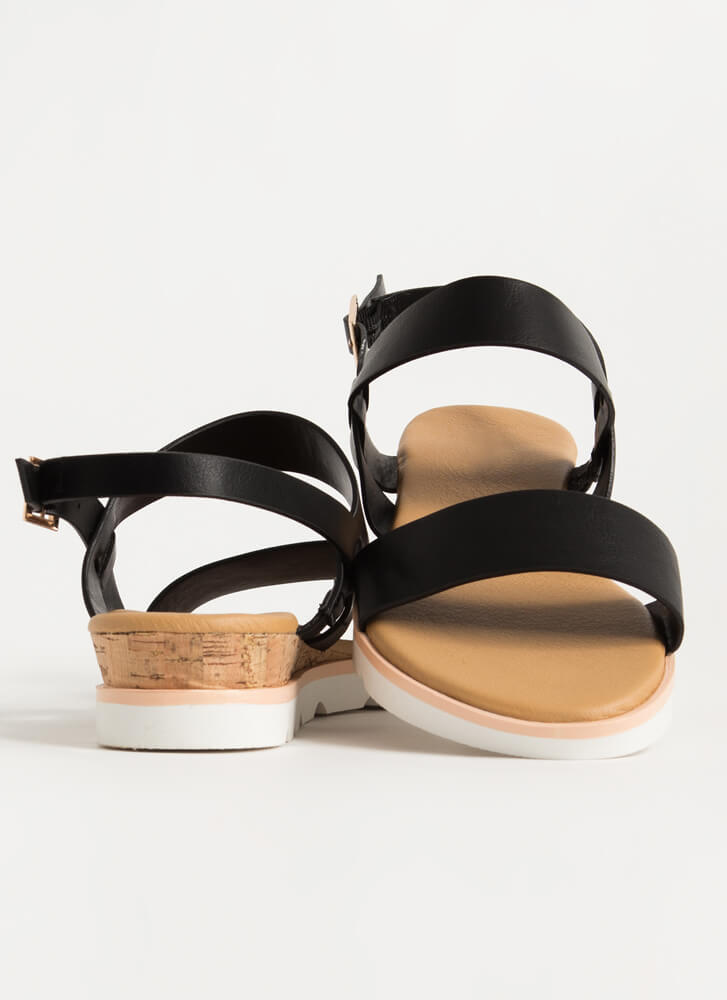 On The Boardwalk Faux Leather Sandals BLACK