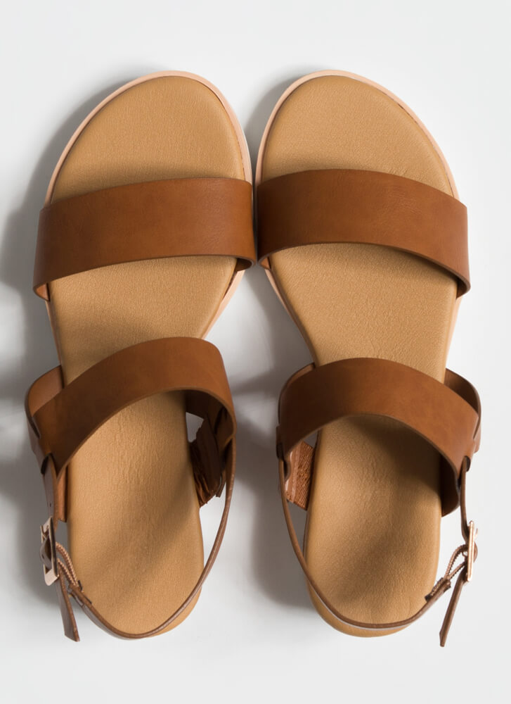 On The Boardwalk Faux Leather Sandals TAN