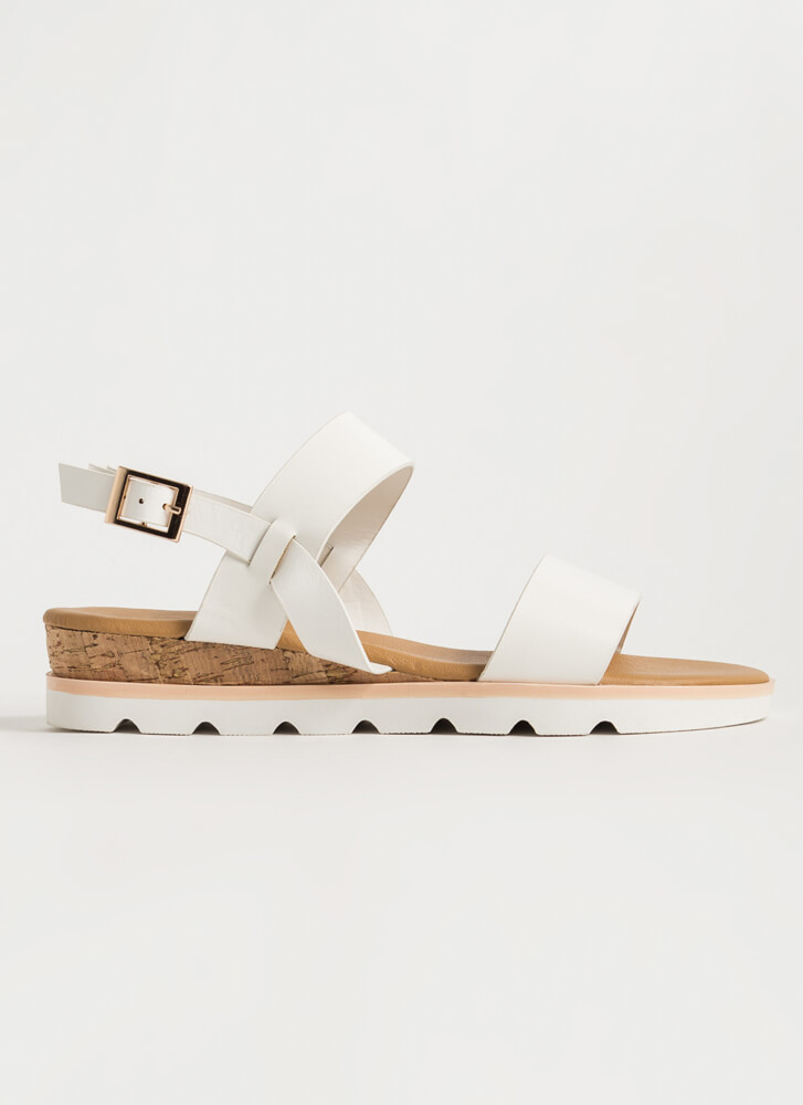 On The Boardwalk Faux Leather Sandals WHITE