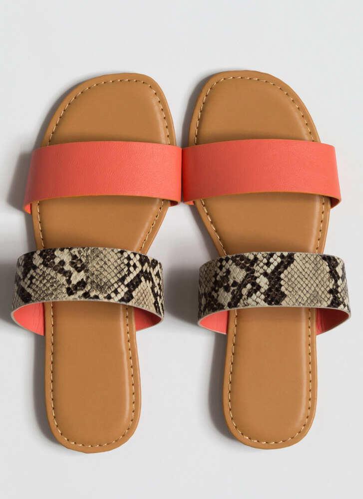 Year Of The Animal Slide Sandals CORAL