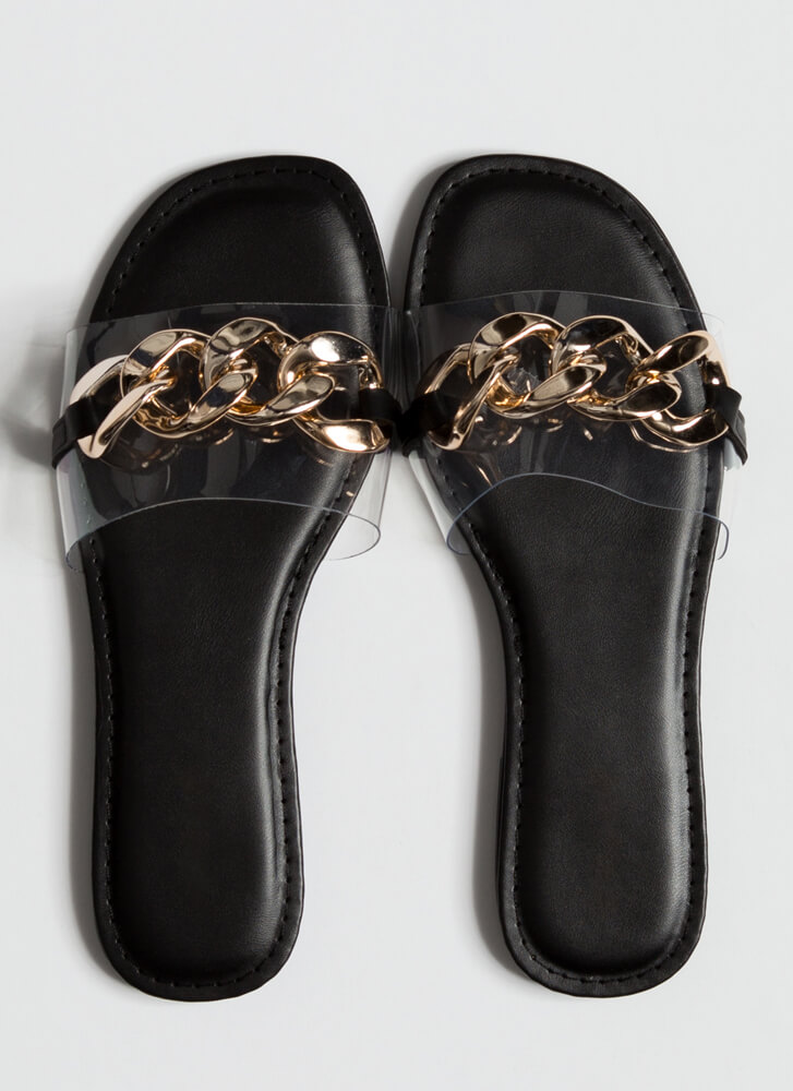 Clear Upgrade Chain Strap Slide Sandals GOLD