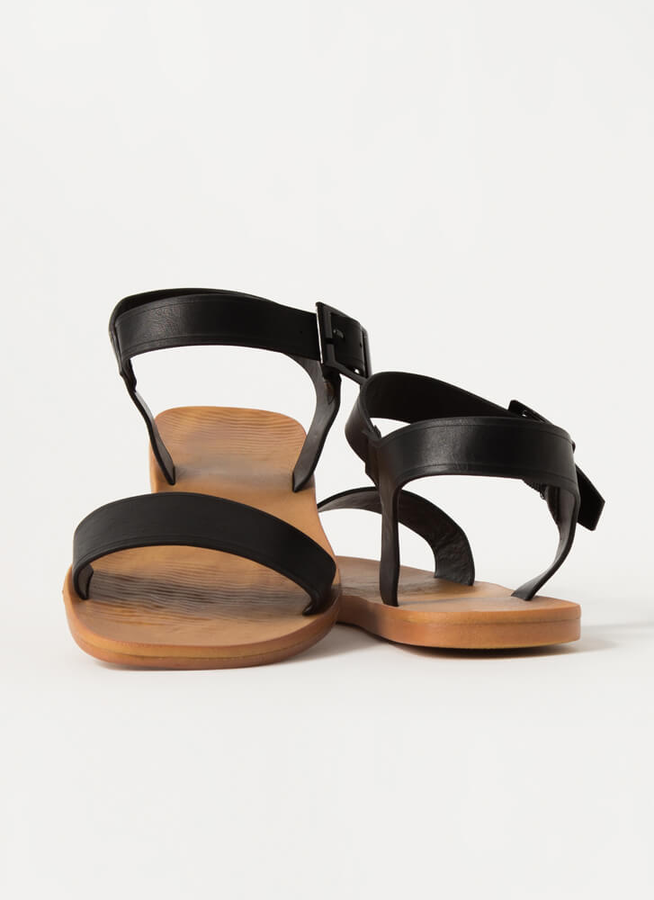 Every Day Strappy Faux Leather Sandals BLACK