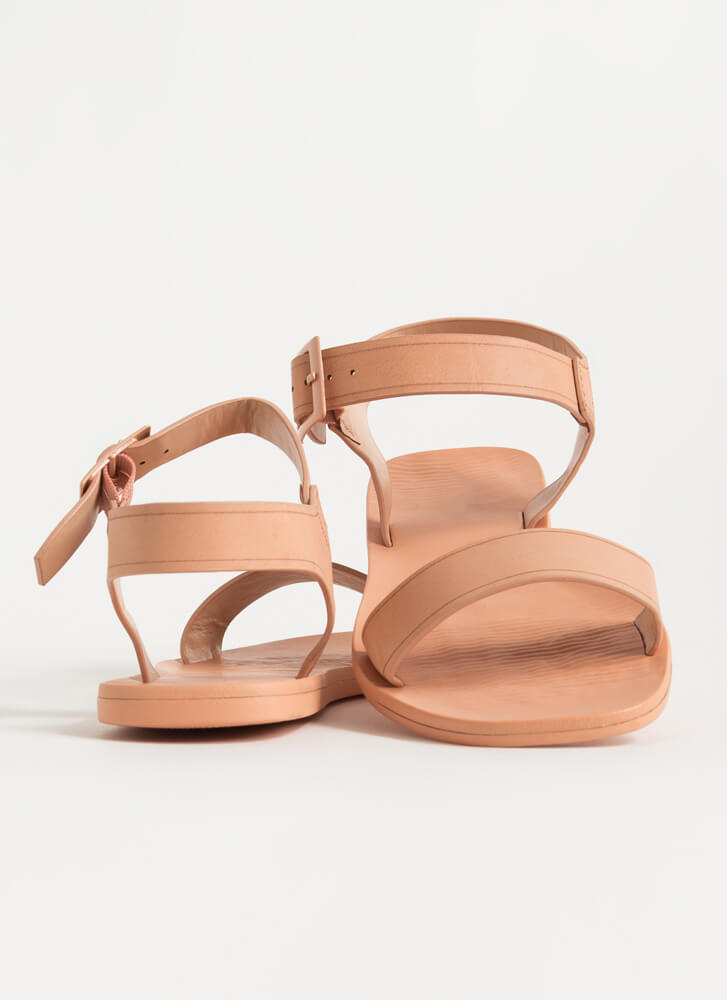 Every Day Strappy Faux Leather Sandals BLUSH