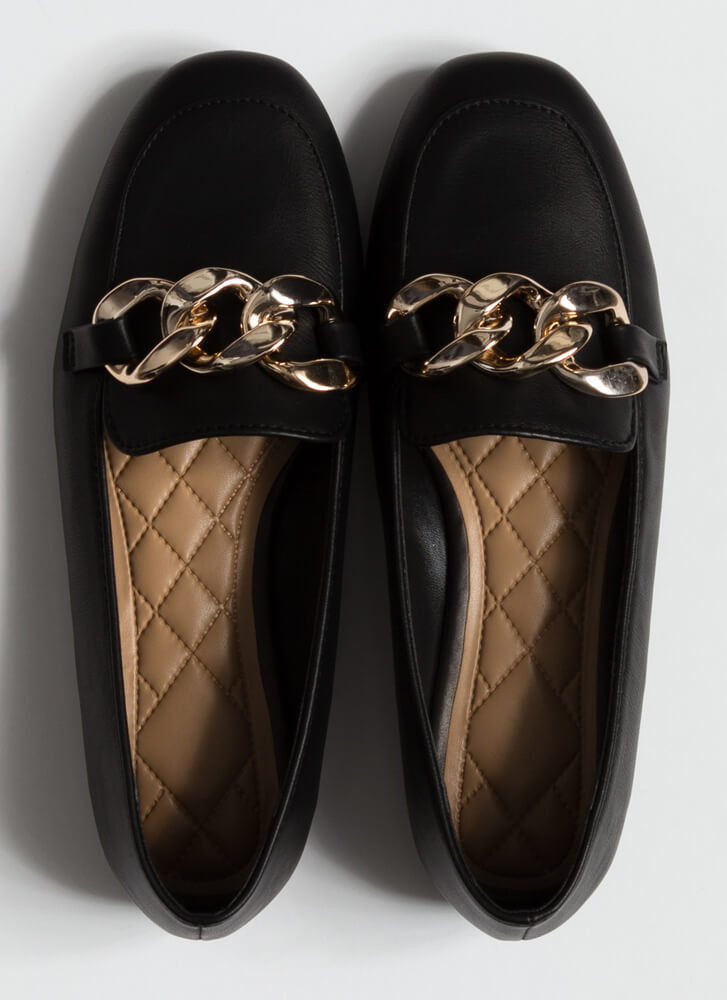 Send Me The Links Chained Loafer Flats BLACK