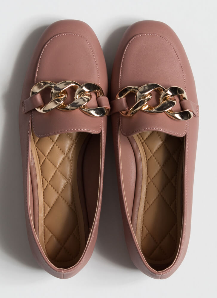 Send Me The Links Chained Loafer Flats TERRACOTTA