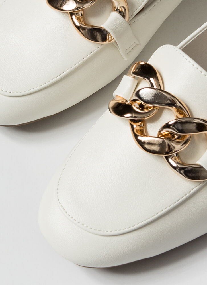 Send Me The Links Chained Loafer Flats WHITE