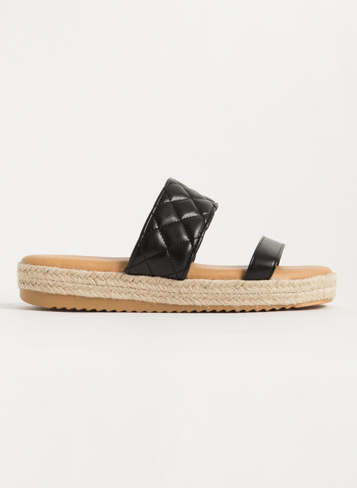 I Plead Quilty Braided Slide Sandals BLACK