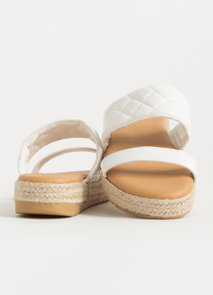 I Plead Quilty Braided Slide Sandals WHITE