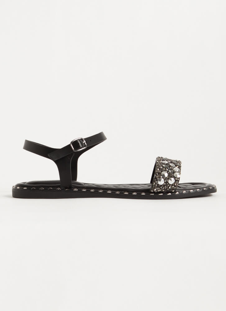 Jewels And Studs Faux Leather Sandals BLACK