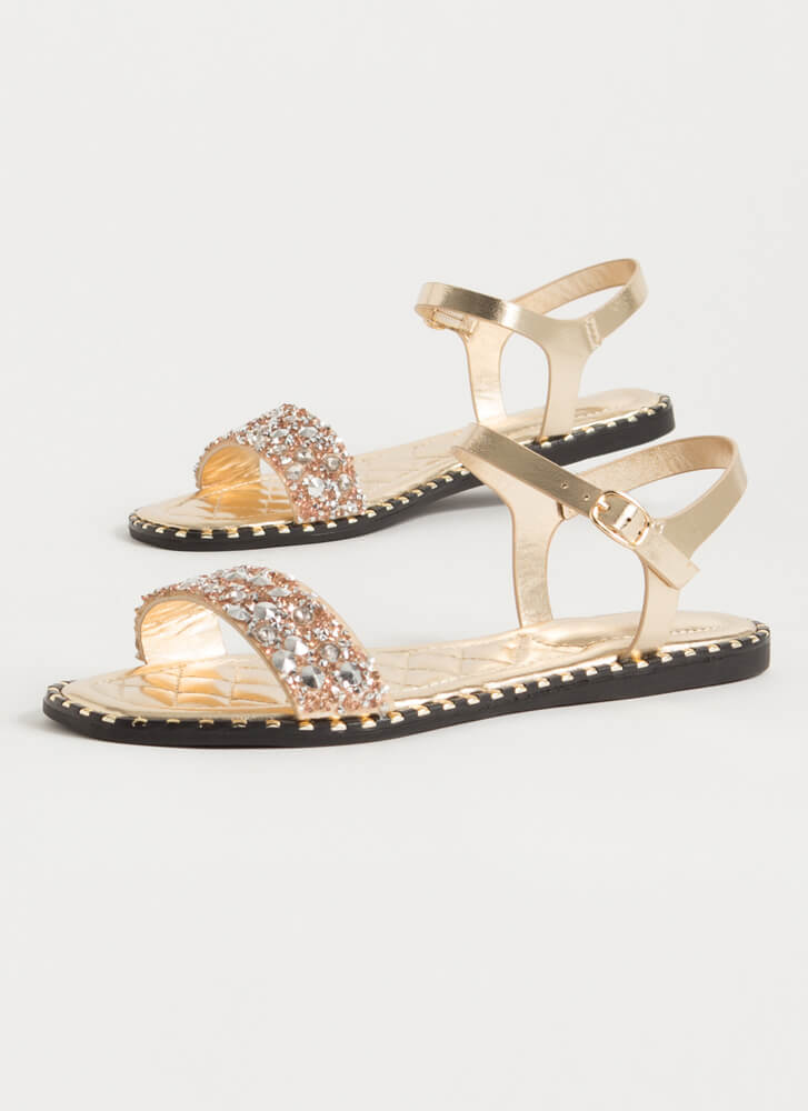 Jewels And Studs Metallic Sandals GOLD