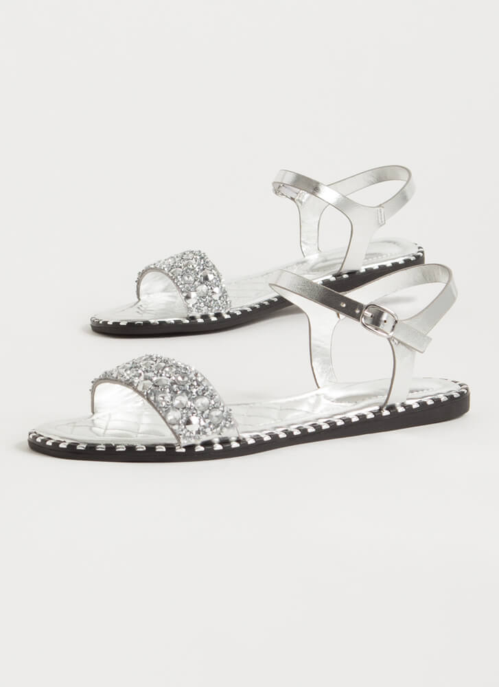 Jewels And Studs Metallic Sandals SILVER