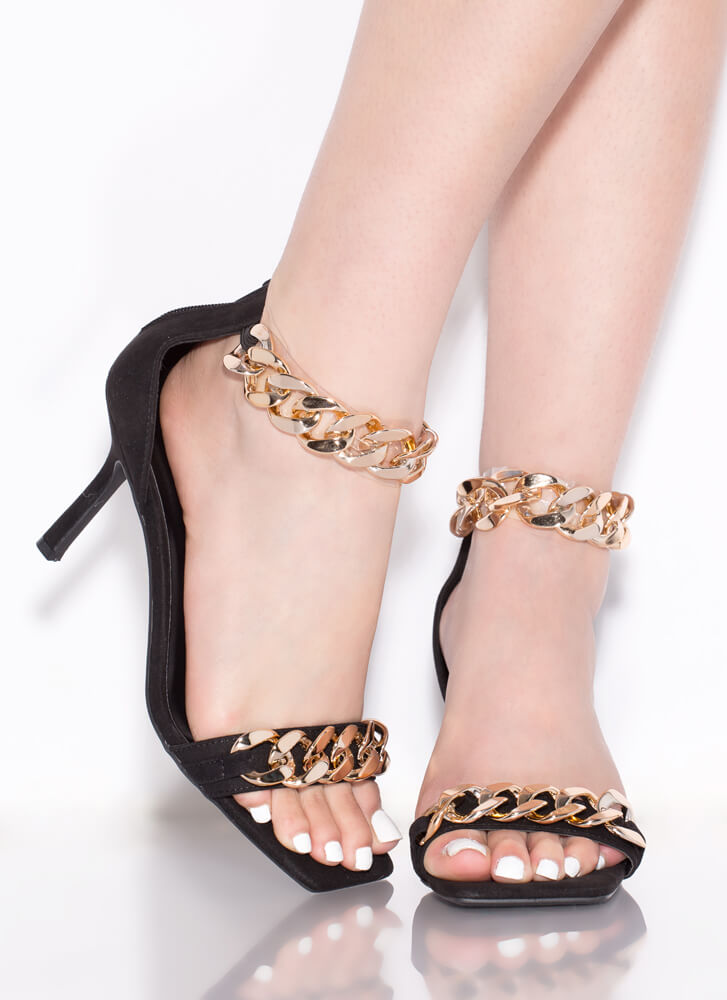 New Link Faux Suede Chain Strap Heels BLACK