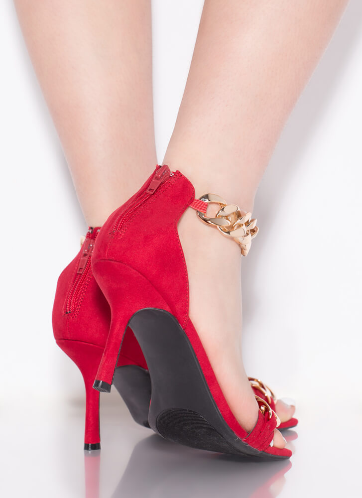 New Link Faux Suede Chain Strap Heels RED