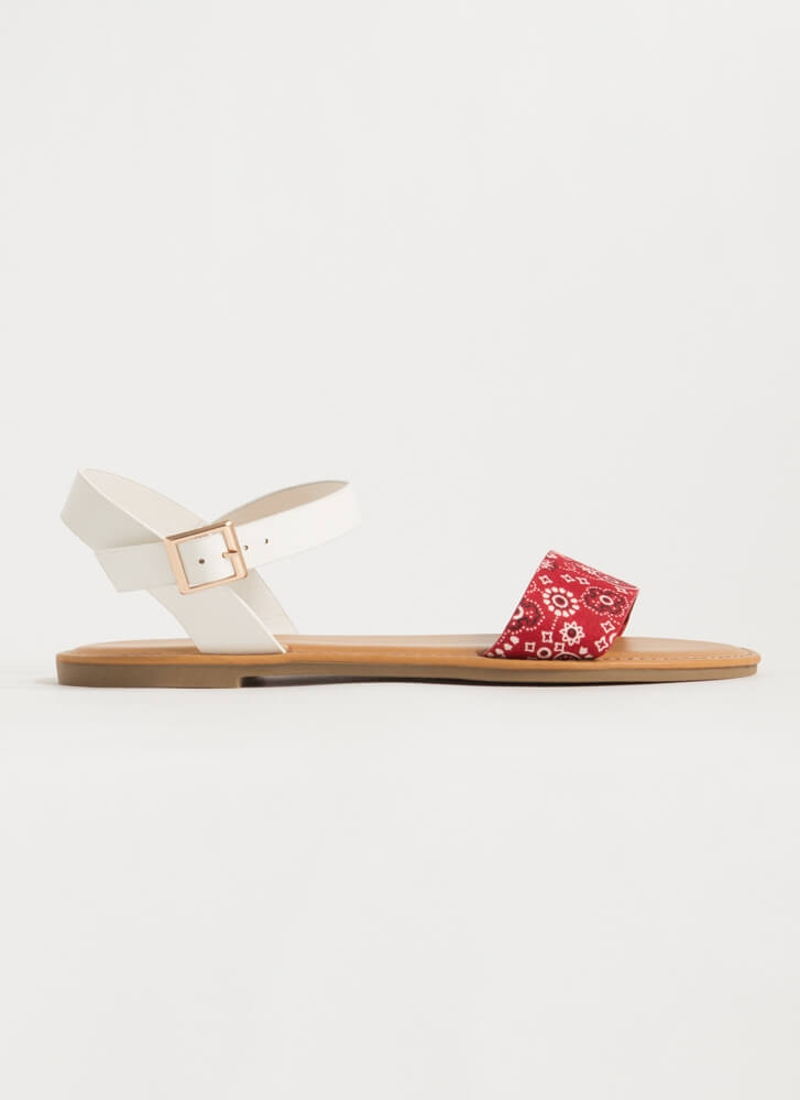 Open-Toe Weather Bandana Strap Sandals RED