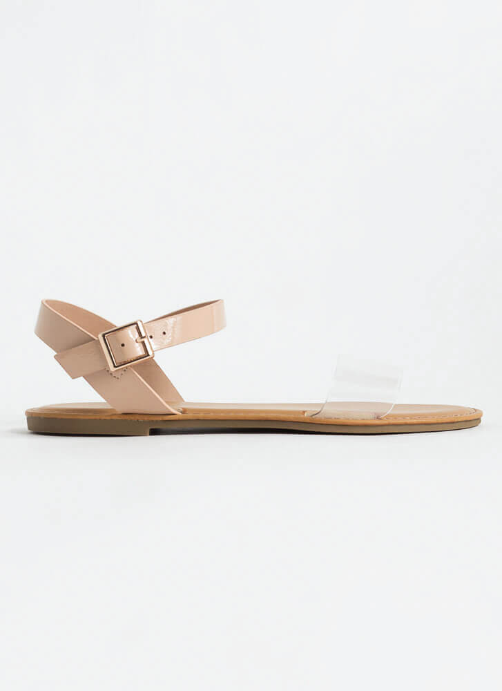 Open-Toe Weather Clear Strap Sandals CLEAR