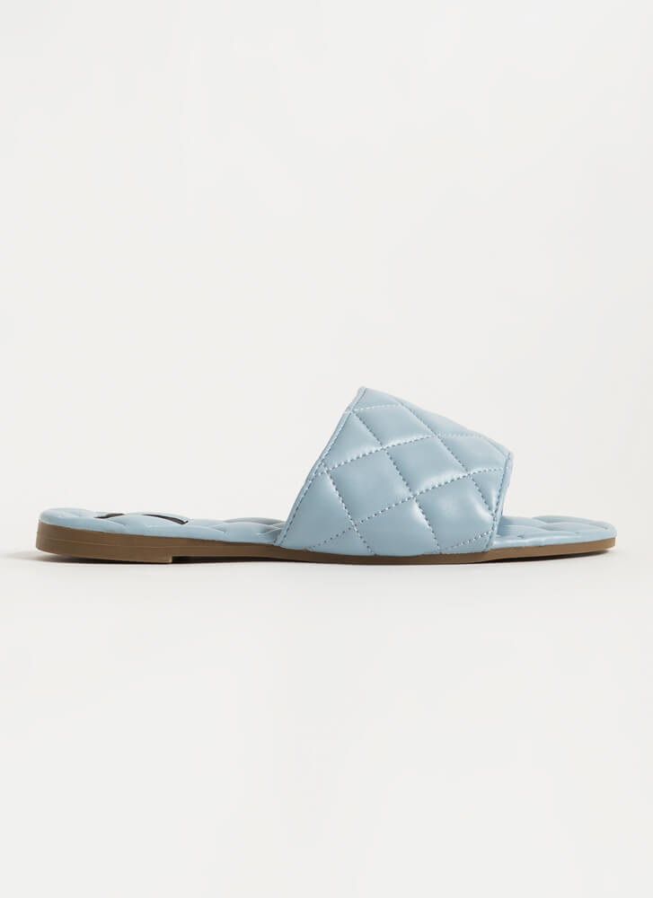 Quilted You Into It Padded Slide Sandals BLUE
