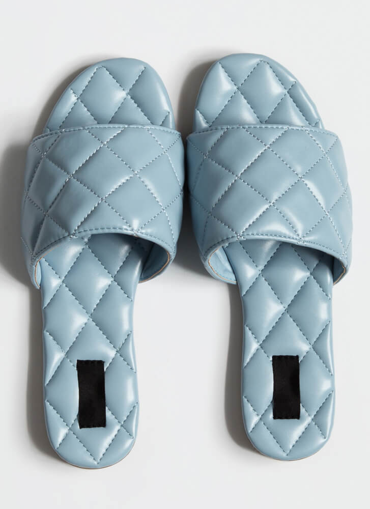 Quilted You Into It Padded Slide Sandals BLUE (Final Sale)