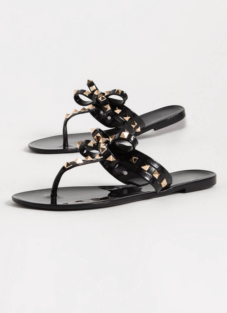 Bow For It Studded Jelly Thong Sandals BLACK