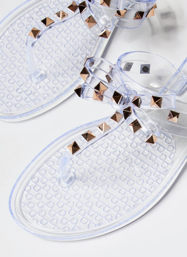 Bow For It Studded Jelly Thong Sandals CLEAR