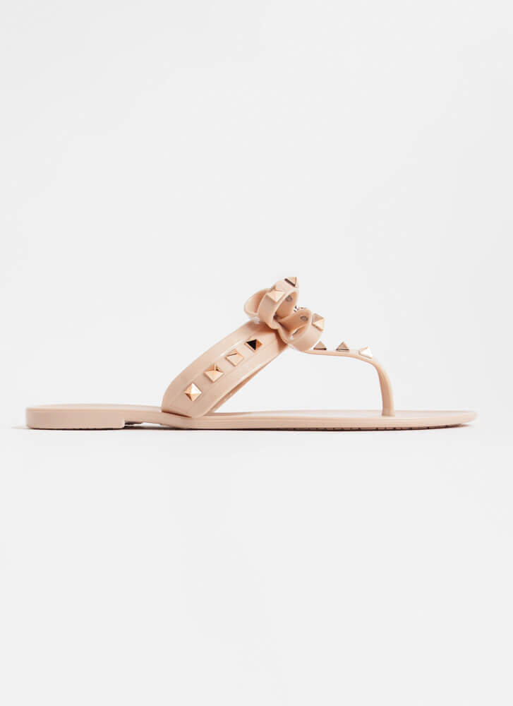Bow For It Studded Jelly Thong Sandals NUDE
