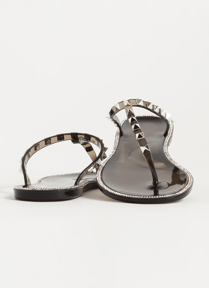 Studs And Stones Jelly Thong Sandals BLACK