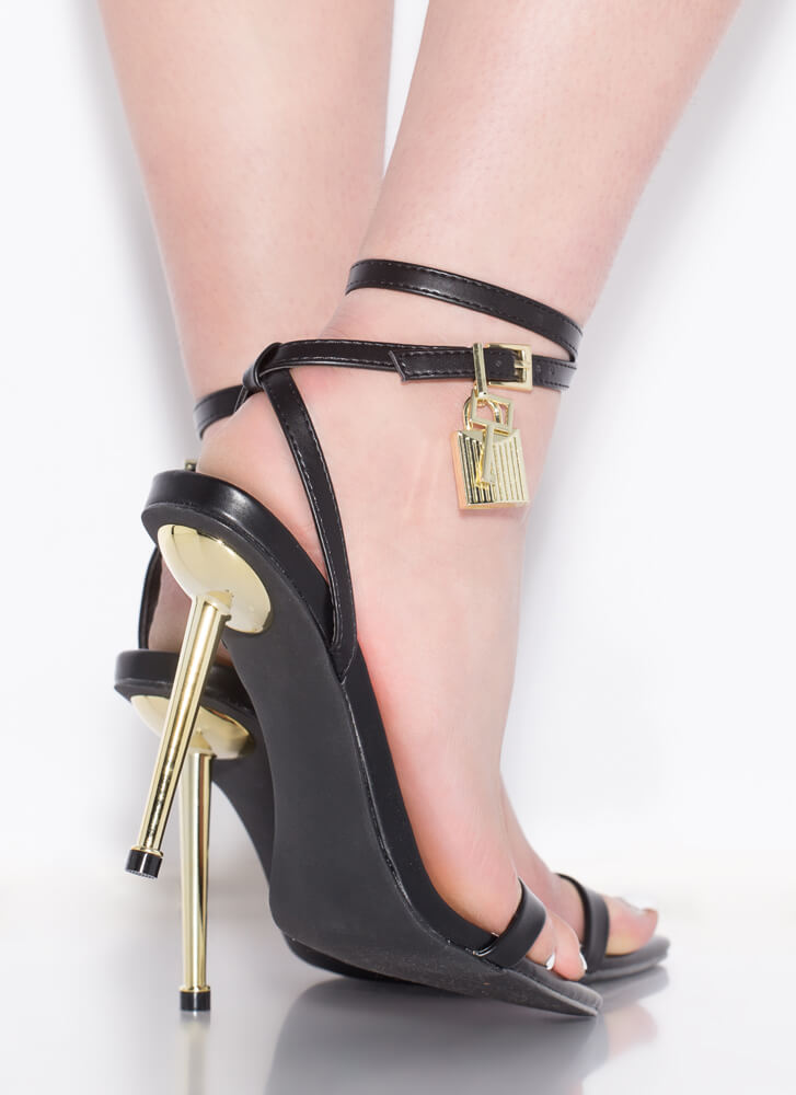 Lock And Key Charm Accent Strappy Heels BLACK
