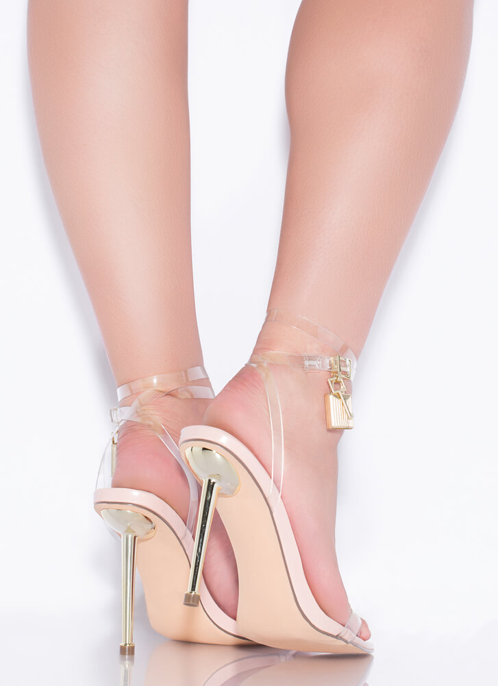 Lock And Key Charm Accent Strappy Heels CLEAR