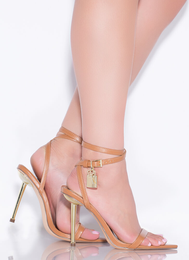 Lock And Key Charm Accent Strappy Heels HONEY