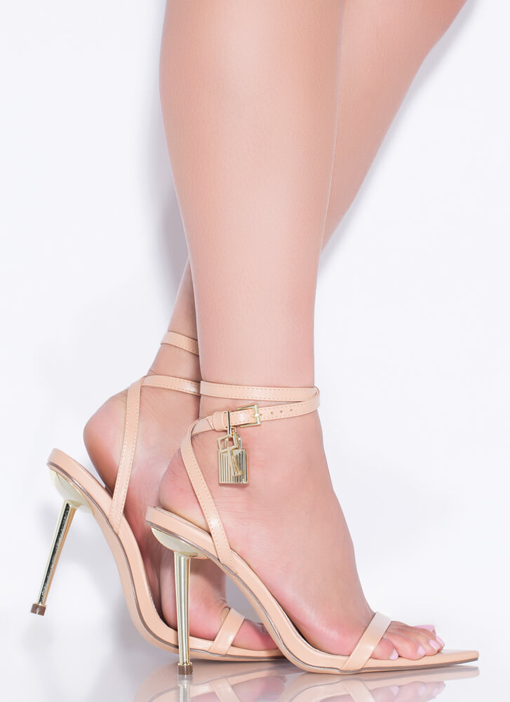 Lock And Key Charm Accent Strappy Heels NUDE