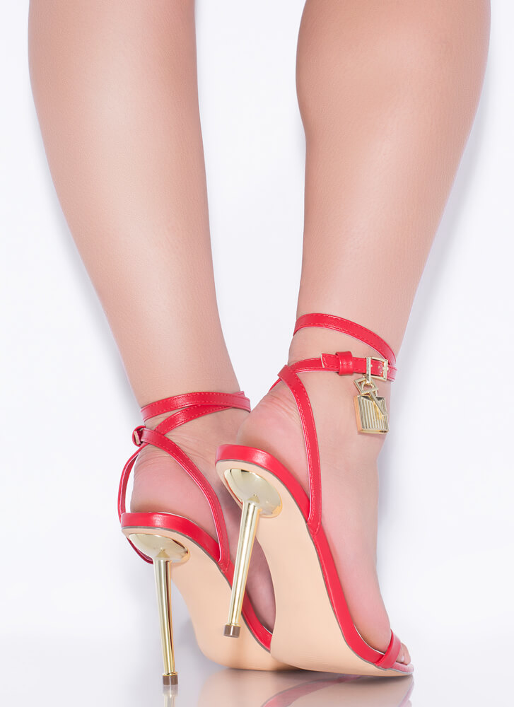 Lock And Key Charm Accent Strappy Heels RED