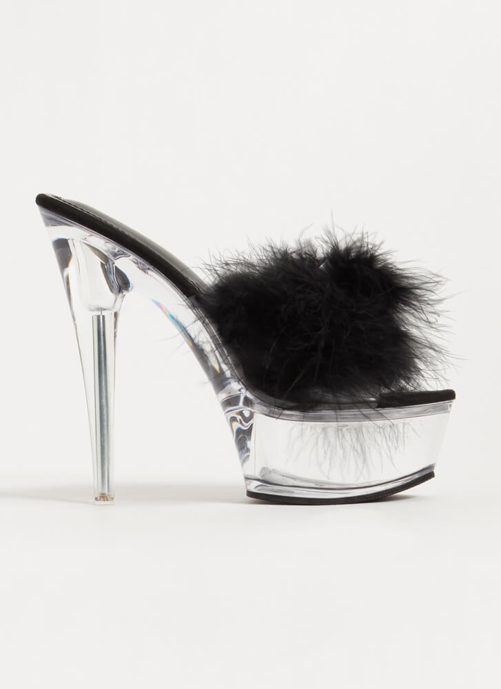 Nightie Feathered Clear Lucite Platforms BLACK