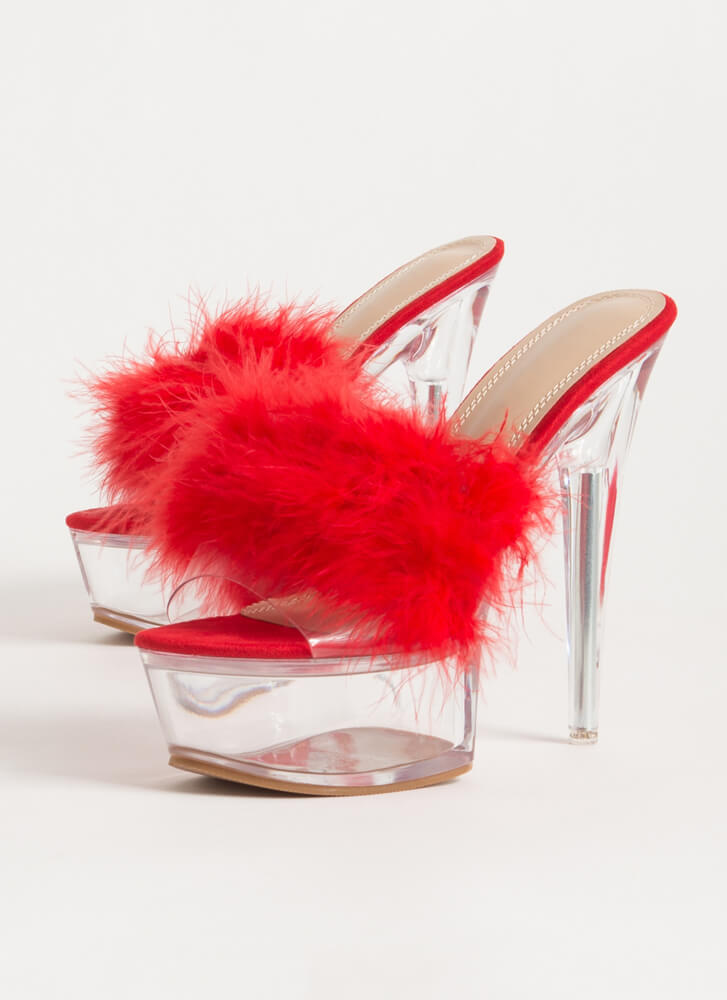 Nightie Feathered Clear Lucite Platforms RED